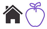 Icon with a House and an Apple
