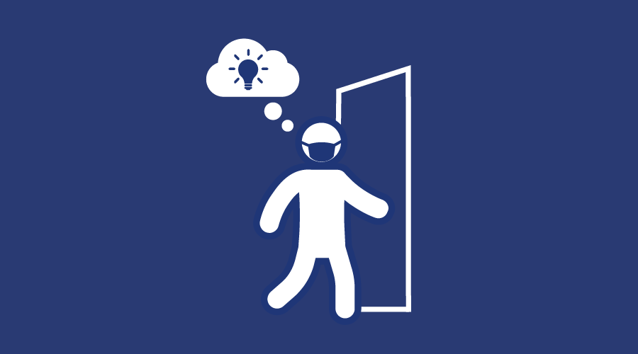 Icon of a masked person walking through an open door, with a thought bubble containing a light bulb.