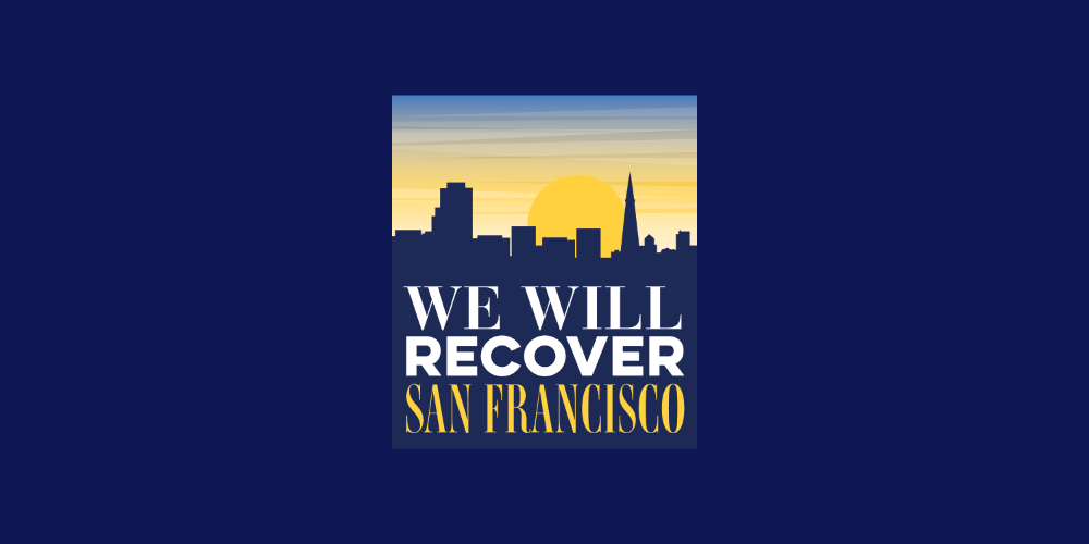 We Will Recover San Francisco icon with a silhouette of SF's skyline.