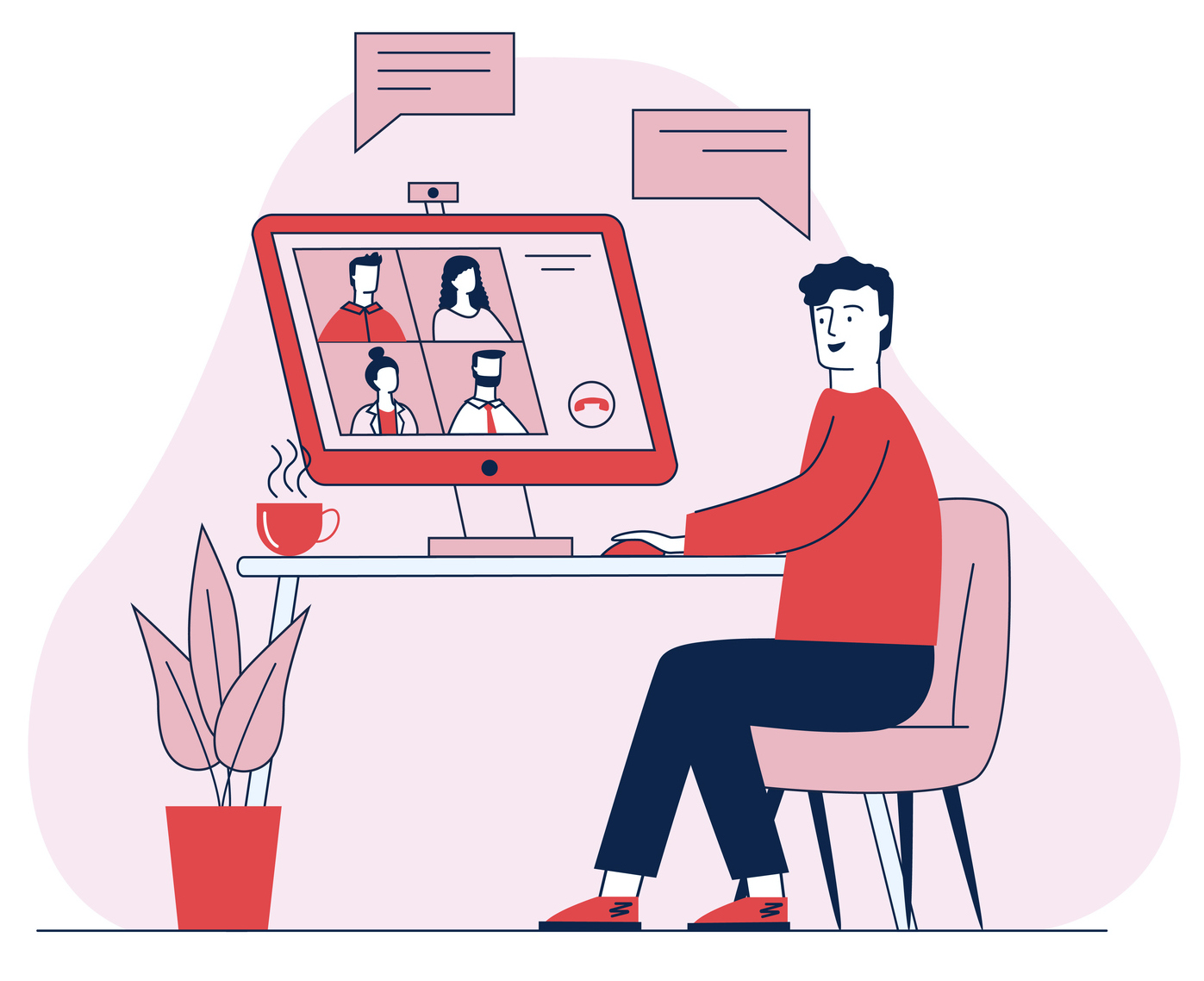 Illustration of person sitting at desk