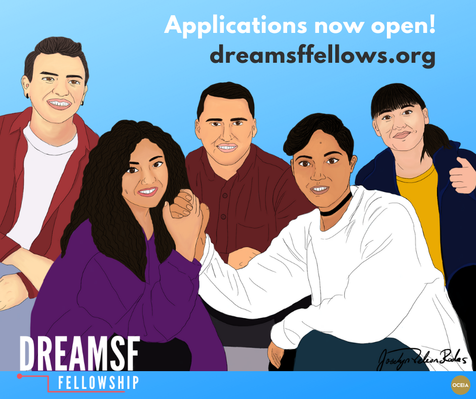 "Illustration of several young adults, text reads"" Applications now open! dreamsffellows.org"""