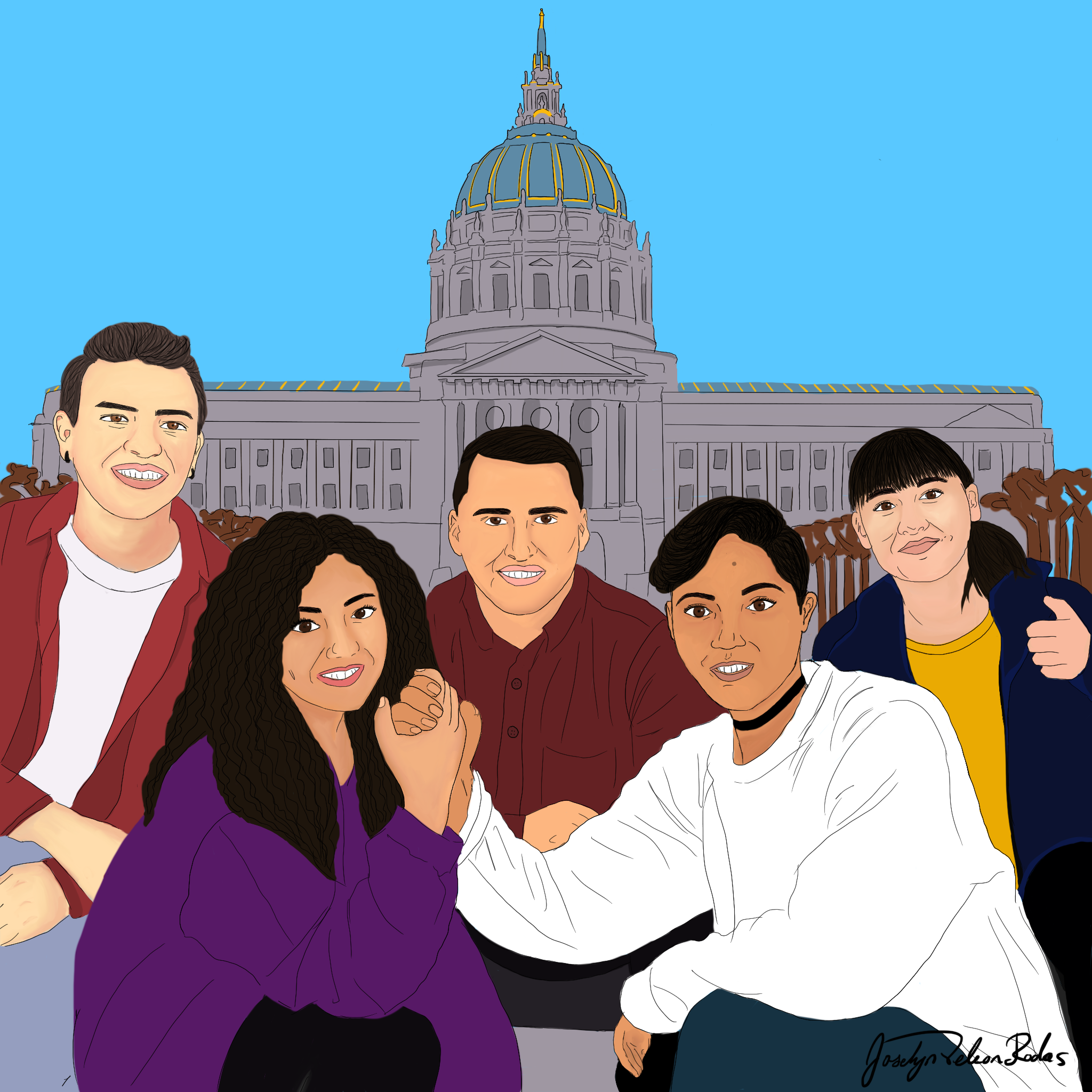 Illustration of 5 young people with San Francisco City Hall in the background