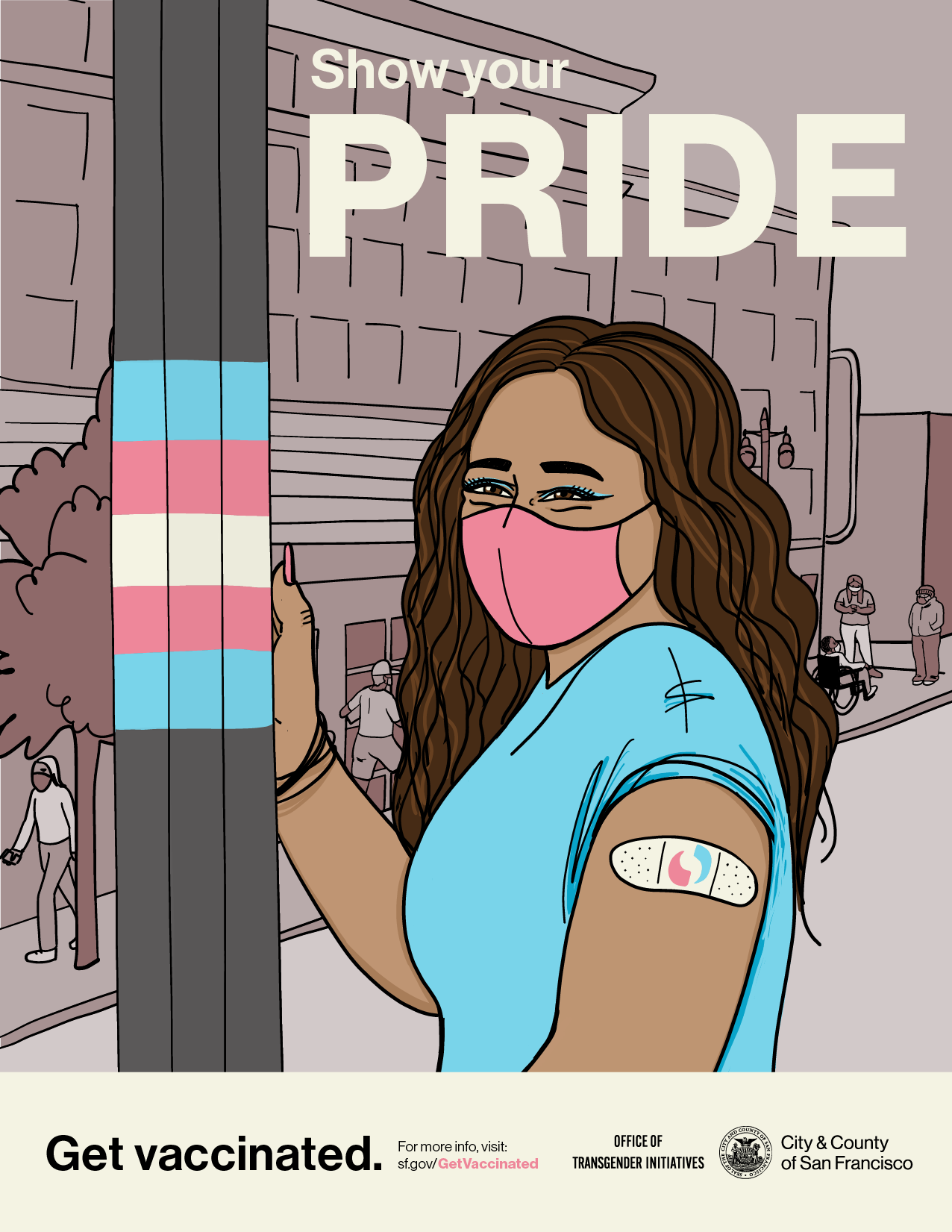 Drawing of a person with long brown hair wearing a mask and bandaid on their arm, and standing next to a pole in the Trans District with the trans pride flag colors.