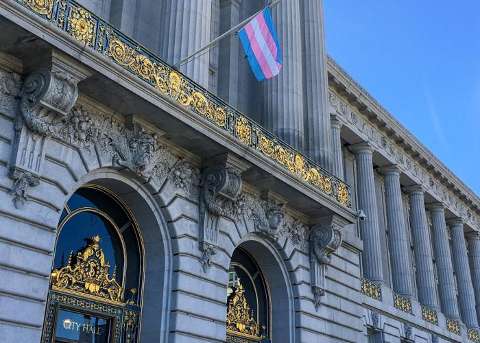 Trans pride flag at SF City Hall